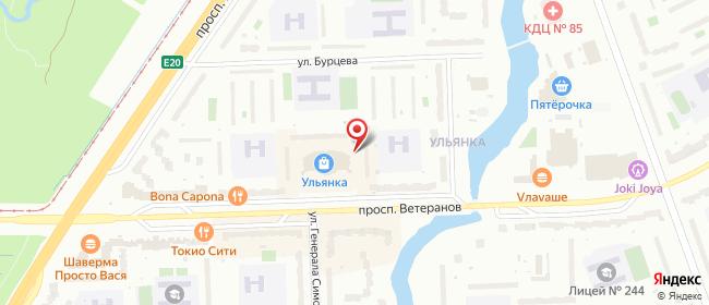 Карта расположения пункта доставки Санкт-Петербург Ветеранов в городе Санкт-Петербург
