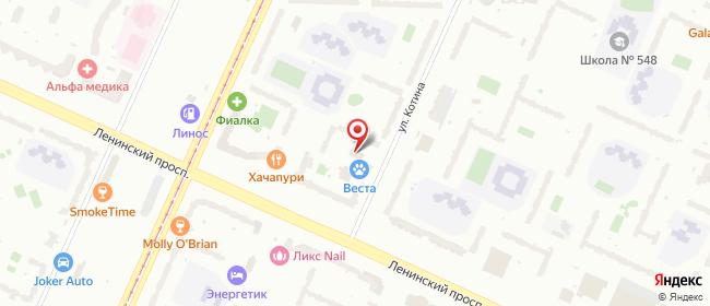 Карта расположения пункта доставки Санкт-Петербург Котина в городе Санкт-Петербург
