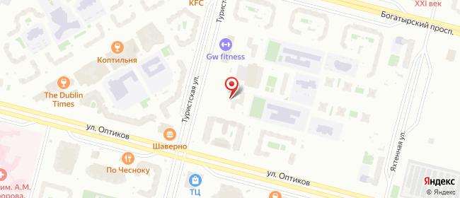 Карта расположения пункта доставки Санкт-Петербург Туристская в городе Санкт-Петербург
