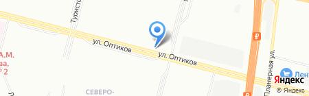 Шиномонтажная мастерская на ул. Оптиков на карте Санкт-Петербурга