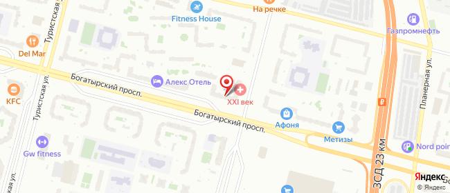 Карта расположения пункта доставки Санкт-Петербург Богатырский в городе Санкт-Петербург