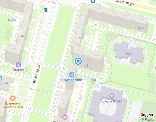Жилищно-строительный кооператив «Яхтенная 35» на карте Санкт-Петербурга
