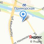 На Приморской на карте Санкт-Петербурга
