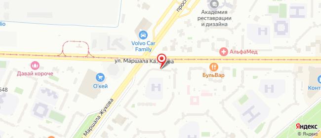 Карта расположения пункта доставки Санкт-Петербург Маршала Жукова в городе Санкт-Петербург