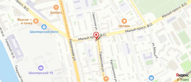 Карта расположения пункта доставки Санкт-Петербург Гаванская в городе Санкт-Петербург