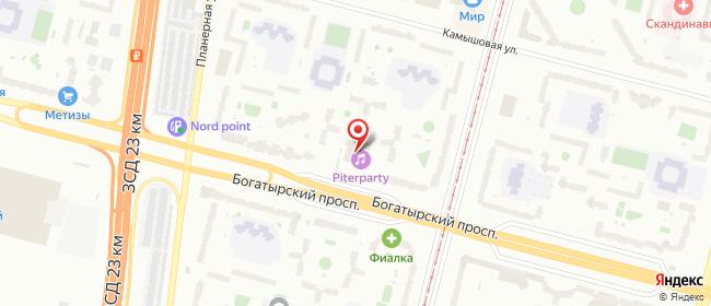 Карта расположения пункта доставки На Богатырском 35 в городе Санкт-Петербург