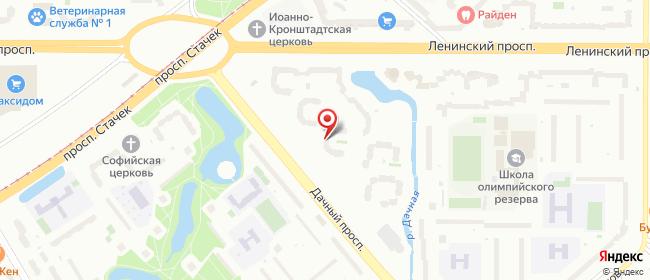 Карта расположения пункта доставки На Дачном в городе Санкт-Петербург