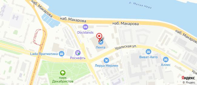 Карта расположения пункта доставки Санкт-Петербург Уральская в городе Санкт-Петербург