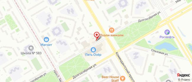 Карта расположения пункта доставки Санкт-Петербург Долгоозерная в городе Санкт-Петербург