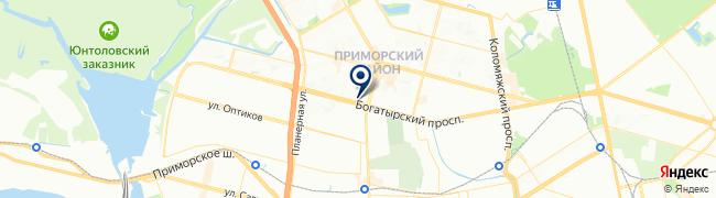 Расположение клиники Медикал Он Груп на Богатырском