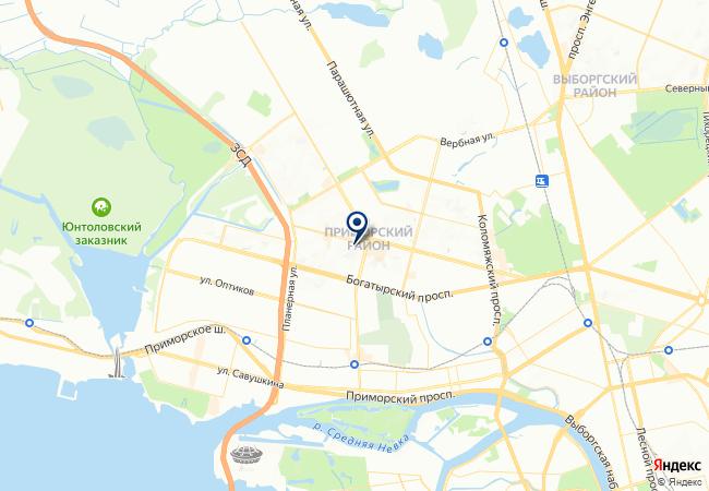 Расположение клиники «Северное» отделение «Скандинавия» на Ильюшина