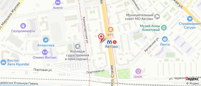 Карта расположения пункта доставки Санкт-Петербург Стачек в городе Санкт-Петербург