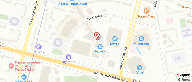 Карта расположения пункта доставки На Комендантском в городе Санкт-Петербург