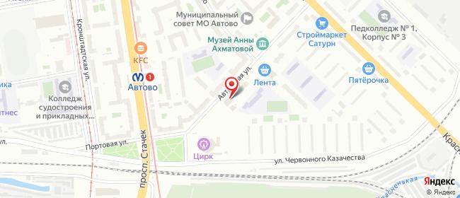Карта расположения пункта доставки Санкт-Петербург Автовская в городе Санкт-Петербург