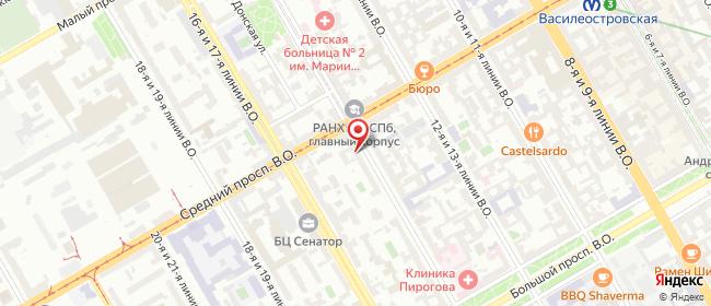 Карта расположения пункта доставки Санкт-Петербург 15-я В.О. линия в городе Санкт-Петербург