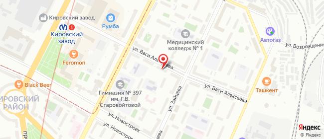 Карта расположения пункта доставки Санкт-Петербург Васи Алексеева в городе Санкт-Петербург