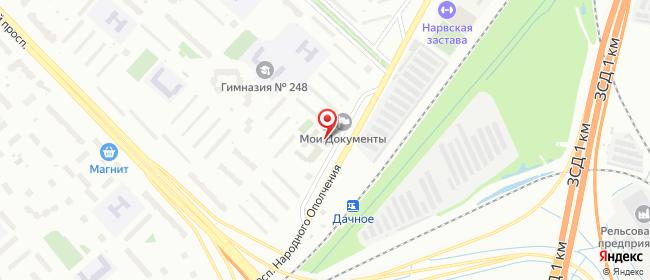 Карта расположения пункта доставки Санкт-Петербург Народного Ополчения в городе Санкт-Петербург