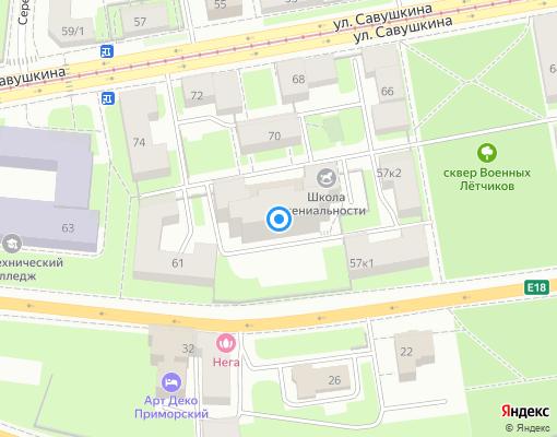 Товарищество собственников жилья «Приморский, 59» на карте Санкт-Петербурга