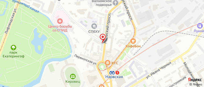 Карта расположения пункта доставки Санкт-Петербург Нарвский в городе Санкт-Петербург