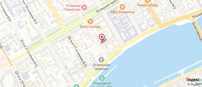 Карта расположения пункта доставки Василеостровская в городе Санкт-Петербург