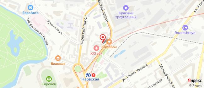 Карта расположения пункта доставки Нарвская в городе Санкт-Петербург