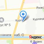 Глобус на карте Санкт-Петербурга