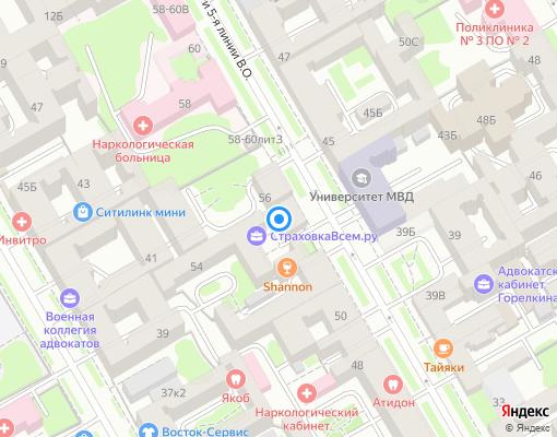 Товарищество собственников жилья «5-я линия 54» на карте Санкт-Петербурга