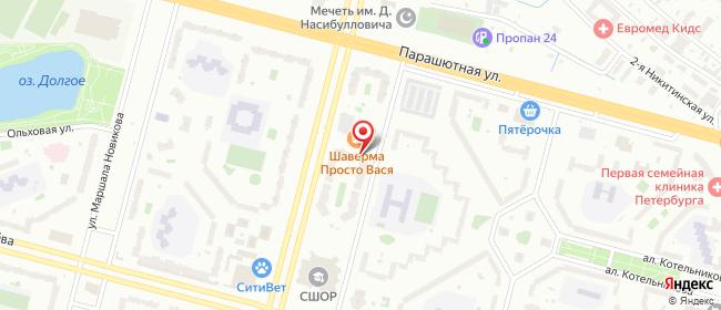 Карта расположения пункта доставки Санкт-Петербург Байконурская в городе Санкт-Петербург