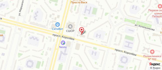 Карта расположения пункта доставки На Королева, 21/1 в городе Санкт-Петербург