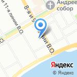 На 9-ой линии на карте Санкт-Петербурга