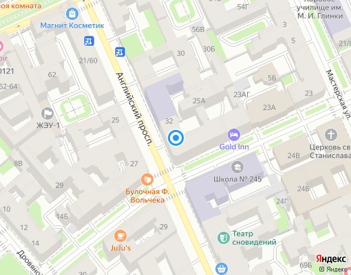 Товарищество собственников жилья «Английский 34» на карте Санкт-Петербурга
