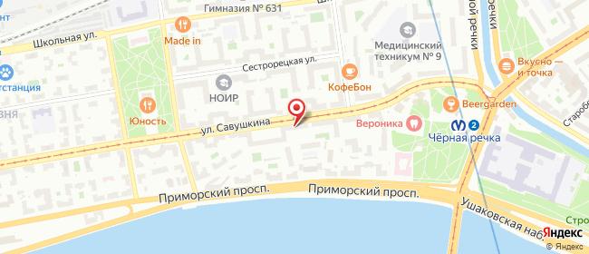 Карта расположения пункта доставки Санкт-Петербург Савушкина в городе Санкт-Петербург