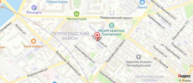 Карта расположения пункта доставки На Петроградской в городе Санкт-Петербург