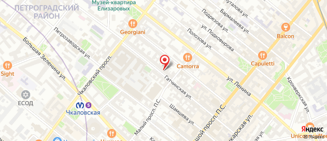Карта расположения пункта доставки Санкт-Петербург Гатчинская в городе Санкт-Петербург