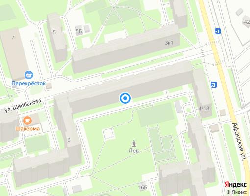 Товарищество собственников жилья «Улица Щербакова дом 4/18» на карте Санкт-Петербурга
