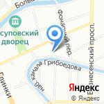 Набережная канала Грибоедова на карте Санкт-Петербурга