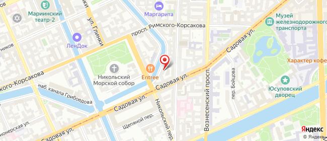 Карта расположения пункта доставки Санкт-Петербург Канала Грибоедова в городе Санкт-Петербург