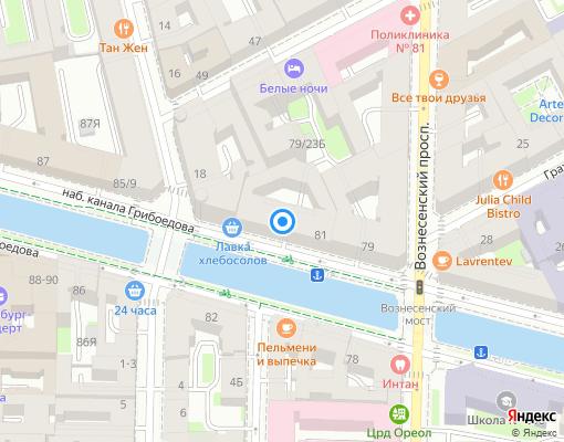 Товарищество собственников жилья «ГРИБОЕДОВА 81» на карте Санкт-Петербурга