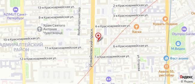 Карта расположения пункта доставки Санкт-Петербург Измайловский в городе Санкт-Петербург