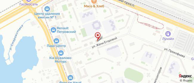 Карта расположения пункта доставки Санкт-Петербург Жени Егоровой в городе Санкт-Петербург