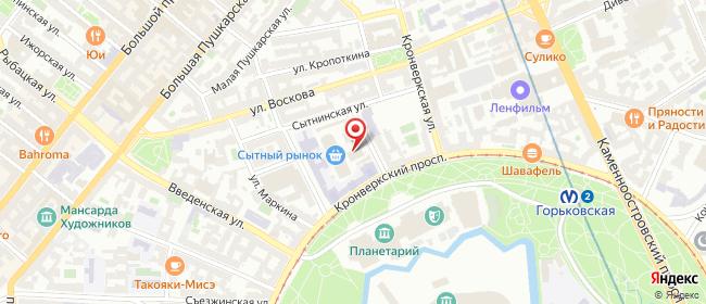 Карта расположения пункта доставки Санкт-Петербург Сытнинская в городе Санкт-Петербург