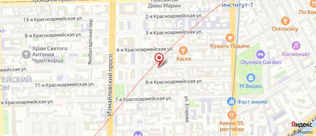 Карта расположения пункта доставки Санкт-Петербург 5-я Красноармейская в городе Санкт-Петербург