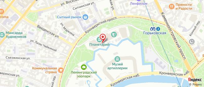 Карта расположения пункта доставки Санкт-Петербург Александровский парк в городе Санкт-Петербург