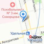 Удельный на карте Санкт-Петербурга