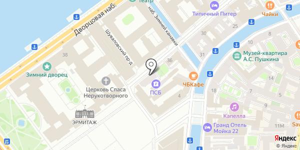 у Эрмитажа. Схема проезда в Санкт-Петербурге