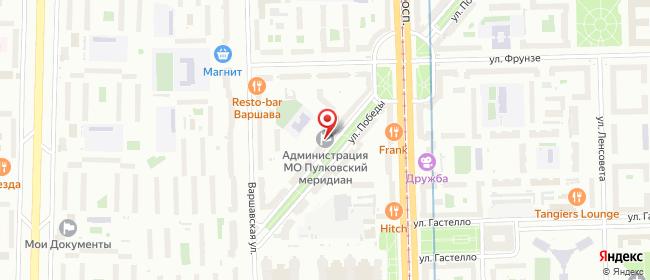 Карта расположения пункта доставки Санкт-Петербург Победы в городе Санкт-Петербург