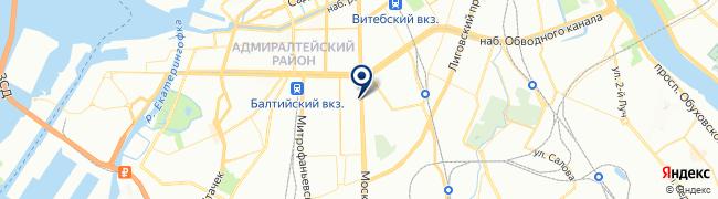 Расположение клиники «Обводный канал» отделение «Скандинавия» на Московском проспекте