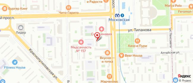 Карта расположения пункта доставки На Московской в городе Санкт-Петербург