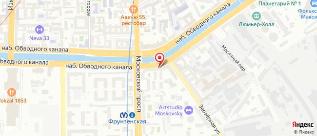 Карта расположения пункта доставки Санкт-Петербург Обводного Канала в городе Санкт-Петербург