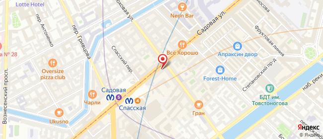 Карта расположения пункта доставки Санкт-Петербург Садовая в городе Санкт-Петербург
